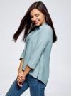 Рубашка свободного силуэта с удлиненной спинкой oodji #SECTION_NAME# (зеленый), 13K11002B/45387/6E10S - вид 2