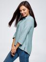 Рубашка свободного силуэта с удлиненной спинкой oodji для женщины (зеленый), 13K11002B/45387/6E10S