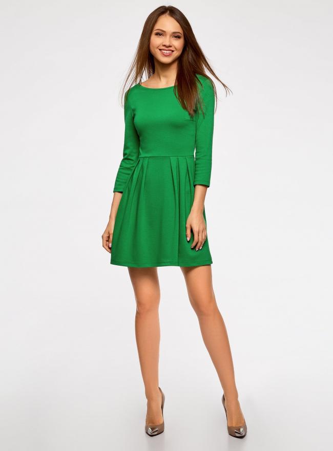 Платье трикотажное приталенное oodji #SECTION_NAME# (зеленый), 14011005B/38261/6E00N