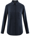 Блузка базовая из вискозы с карманами oodji #SECTION_NAME# (синий), 11400355-4/26346/7900N