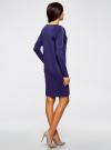 Платье трикотажное с декоративными молниями на плечах oodji #SECTION_NAME# (синий), 24007026/37809/7500N - вид 3