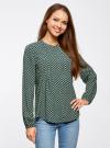 Блузка вискозная с отстрочками на груди oodji #SECTION_NAME# (зеленый), 21411121/47075N/6D12E - вид 2