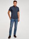 Рубашка базовая с коротким рукавом oodji для мужчины (синий), 3B240000M/34146N/7900N - вид 6