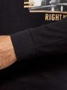 Лонгслив хлопковый с принтом oodji для мужчины (черный), 5L522103I-3/49311N/2937P