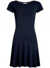 Платье трикотажное с воланами oodji #SECTION_NAME# (синий), 14011017/46384/7900N