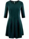 Платье трикотажное со складками на юбке oodji #SECTION_NAME# (зеленый), 14001148-1/33735/6E00N