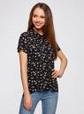 Блузка из вискозы с нагрудными карманами oodji #SECTION_NAME# (черный), 11400391-3B/24681/2912Q - вид 2
