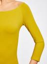 Футболка с рукавом 3/4 и открытыми плечами oodji для женщины (желтый), 14207007B/46867/5200N