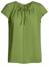 Блузка свободного силуэта с бантом oodji #SECTION_NAME# (зеленый), 11411154/24681/6200N