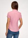Рубашка хлопковая с коротким рукавом oodji #SECTION_NAME# (розовый), 13K01004B/33081/4110S - вид 3