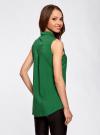 Топ вискозный с нагрудным карманом oodji для женщины (зеленый), 11411108B/26346/6E00N - вид 3