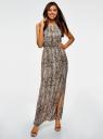 Платье длинное из струящейся ткани oodji для женщины (серый), 21900323/42873/2520A