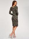 Платье трикотажное с вырезом-капелькой на спине oodji #SECTION_NAME# (зеленый), 24001070-5/15640/6641F - вид 3