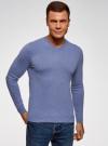 Пуловер базовый с V-образным вырезом oodji #SECTION_NAME# (синий), 4B212007M-1/34390N/7401M - вид 2