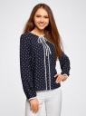 Блузка прямого силуэта с завязками oodji #SECTION_NAME# (синий), 11401267/42405/7912G - вид 2