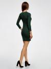 Платье базовое с рукавом 3/4 oodji для женщины (зеленый), 63912222-1B/46244/6E00N - вид 3