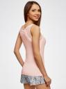 Топ из вискозы с кружевной отделкой oodji для женщины (розовый), 59810017/42814/4000N
