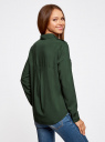 Блузка базовая из вискозы с нагрудными карманами oodji #SECTION_NAME# (зеленый), 11411127B/26346/6900N - вид 3