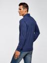 Пуловер прямого силуэта с воротником шалькой oodji #SECTION_NAME# (синий), 4L212143M/21655N/7400M - вид 3