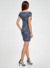 Платье трикотажное с принтом oodji #SECTION_NAME# (синий), 14001117-4/16564/7912G - вид 3