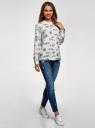 Блузка вискозная А-образного силуэта oodji #SECTION_NAME# (белый), 21411113B/42540/1223O - вид 6