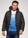 Куртка стеганая с капюшоном oodji #SECTION_NAME# (черный), 1B112027M/33743/2900N - вид 2