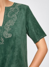 Платье из искусственной замши с декором из металлических страз oodji для женщины (зеленый), 18L01001/45622/6E00N - вид 5