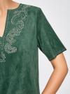 Платье из искусственной замши с декором из металлических страз oodji #SECTION_NAME# (зеленый), 18L01001/45622/6E00N - вид 5