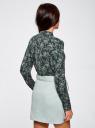 Блузка из струящейся ткани с воланами oodji #SECTION_NAME# (зеленый), 21411090/36215/6912E - вид 3