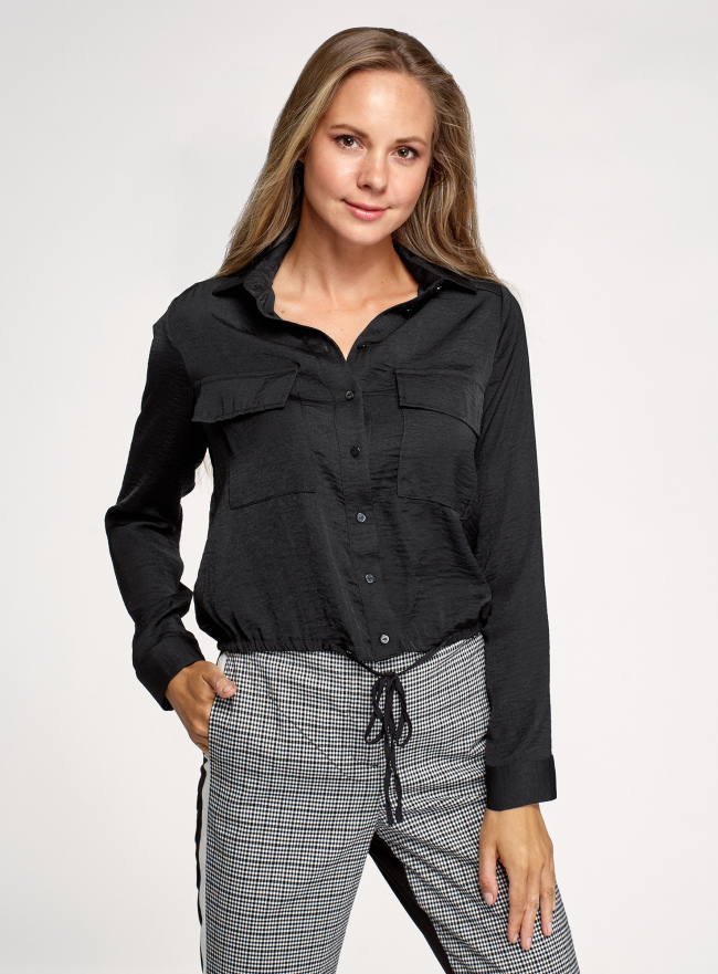 Блузка с карманами и длинными рукавами oodji для женщины (черный), 11411210/50340/2900N