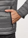 Куртка стеганая с капюшоном oodji для мужчины (серый), 1B112009M/25278N/2300N
