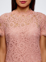 Блузка ажурная с коротким рукавом oodji #SECTION_NAME# (розовый), 11401277/48132/4B00L - вид 4