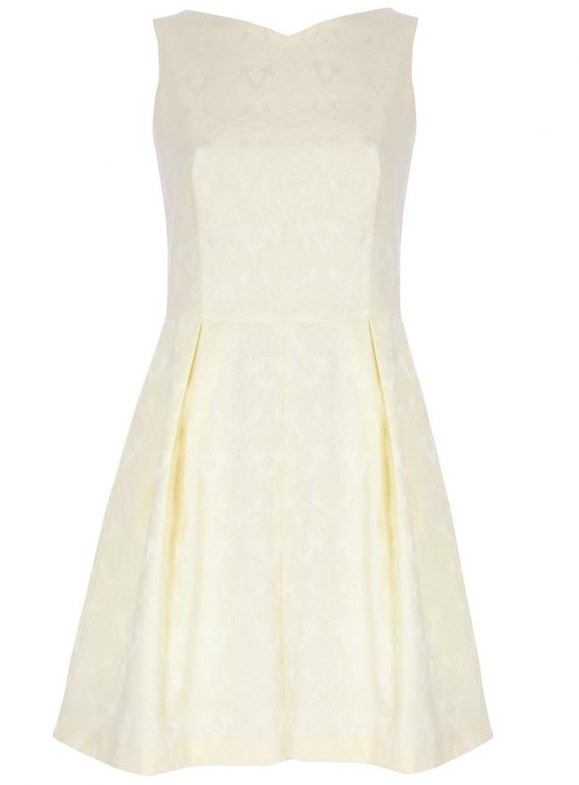 Платье жаккардовое с боковыми карманами oodji для женщины (желтый), 21913011/35196/5000N