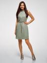Платье хлопковое на кулиске oodji #SECTION_NAME# (зеленый), 11901147-5B/42468/6000N - вид 2