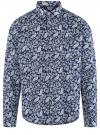 Рубашка принтованная приталенного силуэта oodji #SECTION_NAME# (синий), 3L110257M/19370N/7910E