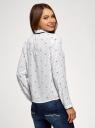 Блузка с декоративными завязками и оборками на воротнике oodji #SECTION_NAME# (белый), 11411091-2/36215/1229D - вид 3