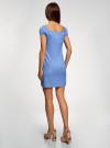 Платье хлопковое со сборками на груди oodji #SECTION_NAME# (синий), 11902047-2B/14885/7503N - вид 3