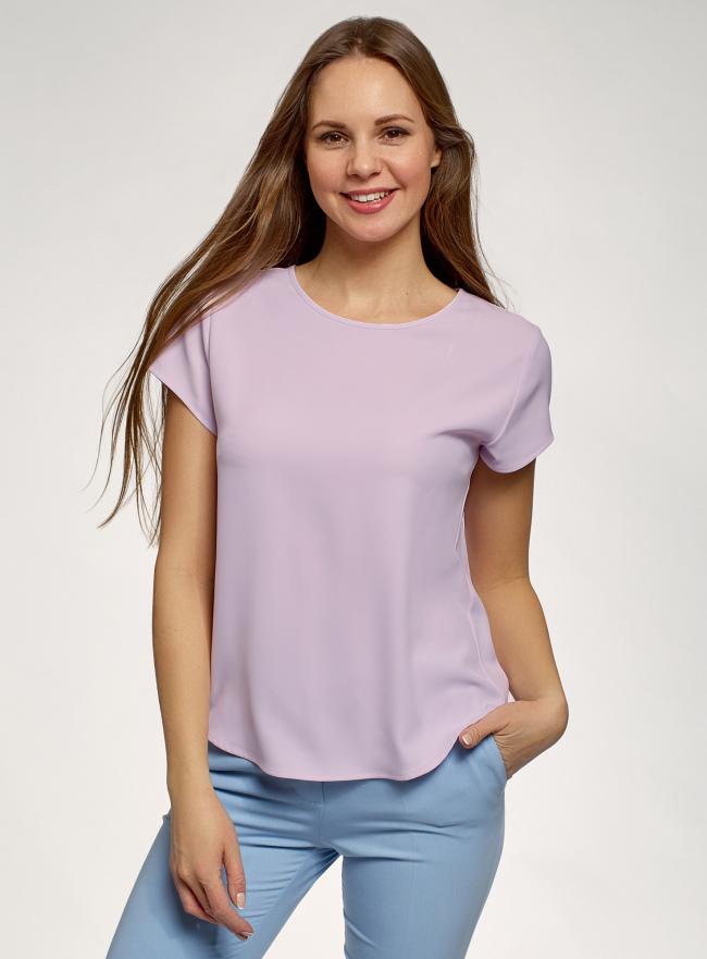 Блузка прямого силуэта с коротким рукавом oodji для женщины (фиолетовый), 11411138-3B/48728/8000N