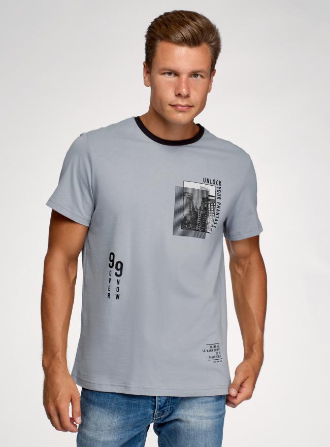 Футболка хлопковая с принтом oodji для мужчины (синий), 5L641001I-35/44135N/7429P