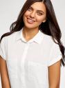 Блузка из вискозы с нагрудными карманами oodji #SECTION_NAME# (белый), 11400391-4B/24681/1200N - вид 4