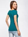 Комплект приталенных футболок (2 штуки) oodji #SECTION_NAME# (зеленый), 14701005T2/46147/6C00N - вид 3