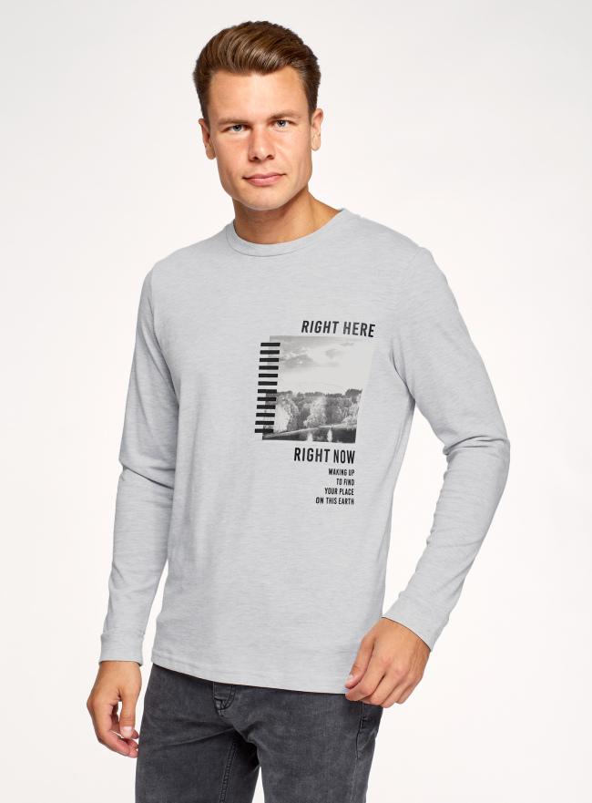 Лонгслив хлопковый с принтом oodji для мужчины (серый), 5L522103I-3/49311N/2029Z