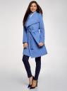 Пальто без застежки с поясом oodji #SECTION_NAME# (синий), 10104042-1/47736/7500N - вид 6