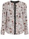 Блузка из струящейся ткани с контрастной отделкой oodji #SECTION_NAME# (белый), 11411059/43414/1245E