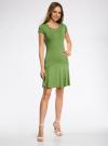 Платье трикотажное с воланами oodji #SECTION_NAME# (зеленый), 14011017/46384/6200N - вид 6