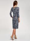 Платье трикотажное с вырезом-капелькой на спине oodji #SECTION_NAME# (синий), 24001070-5/15640/7910F - вид 3