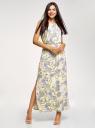 Платье макси с завязками на талии oodji для женщины (желтый), 24005137-1/46943/5270E