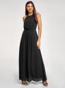 Платье макси с завязками на талии oodji для женщины (черный), 11911009/42629/2901N