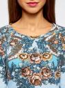 Свитшот с принтом oodji для женщины (синий), 14807010/42992/7043F