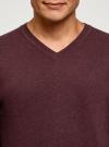 Пуловер базовый с V-образным вырезом oodji #SECTION_NAME# (красный), 4B212007M-1/34390N/4900M - вид 4